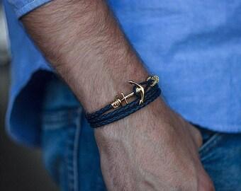 Navy blue leather Anchor bracelet, man bracelet, leather bracelet, bracelet homme, man leather bracelet, man anchor bracelet, bracelet ancre