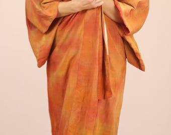 Genuine japanese silk kimono free size S M L XL red yellow orange long full length firey alternative jacket long coat bright housecoat gown
