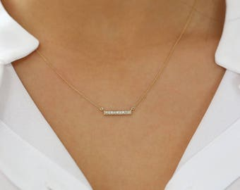 Diamond Bar Necklace/ 14k Solid Gold Diamond Bar Necklace with Micro Pave Setting/ Diamond Layering Necklace/ Graduation Gift