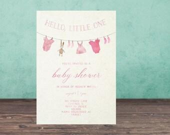 Baby Shower Invitation, CLOTHESLINE  Baby Shower Invitation, Printable, Baby Shower, Watercolor, Hello Little One