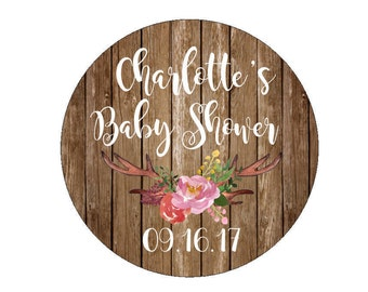 Baby Shower Favor Stickers Custom Date Labels Tags Floral Antlers Branch Flowers Watercolor Rustic Warm Wood Candy Bags Buffet