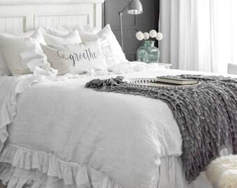 linen bedskirt | etsy