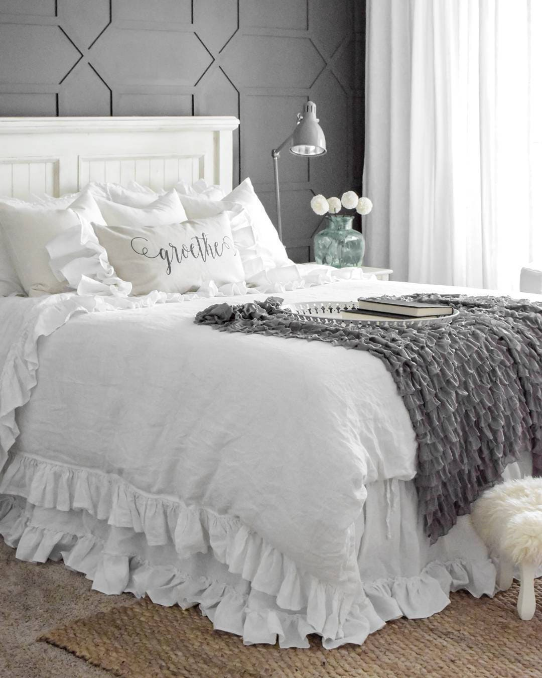 king size linen bed skirt 14 colors ruffled bed skirt softened. Black Bedroom Furniture Sets. Home Design Ideas
