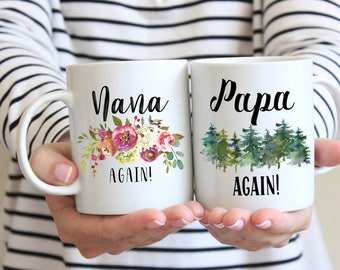 Nana and Papa Again Mug, Pregnancy Reveal To Grandparents, Pregnancy Announcement Grandparents, Grandparents Gift, Custom Mugs, 2 Mug Set
