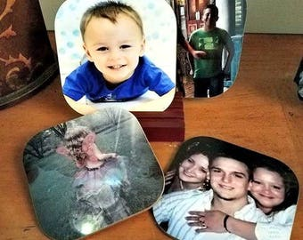 Set of 4 Custom Photo Coasters with Wooden Base - Custom Coasters - Personalized - Photo Coaster - Coaster - Drink Coasters - Gift Idea