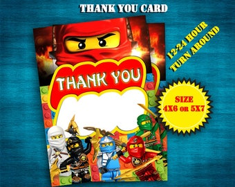 Ninjago thank you card, INSTANT DOWNLOAD, personalized with your child's name, digital,Thank you card, personalized, DIY, Printable