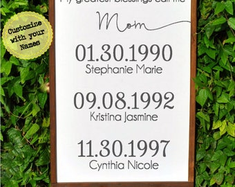 My Greatest Blessings Call Me Mom with Family Birth Dates   Birthday Gift for Mom   Mother of the Bride Gift   Mothers Day Gift for Mom