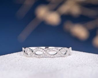 Infinity Wedding Band Woman Diamond White Gold Ring Stacking Half Eternity Ring Micro Pave Anniversary Matching Wedding Curved Minimalist