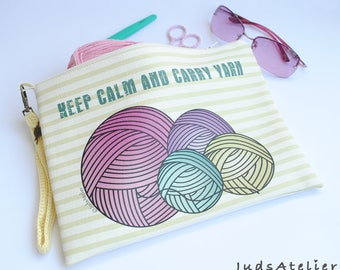 Keep calm & Carry yarn, Crochet clutch, project bag, hand bag, crochet Bag, crochet hand bag, clutch for weavers, Crochet Gift, weavers gift