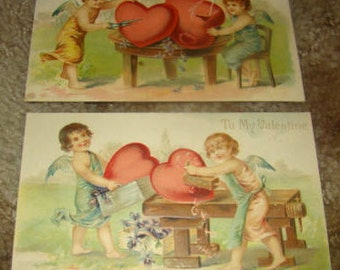 2 Lovely Vintage Valentine Postcards (Cupids and Hearts)