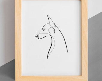 Doberman Poster, Dobie Gift, Doberman Pinscher Art, Doberman Art Print, Gift for Doberman Owners, Doberman Lover, Single Line, Line Drawing