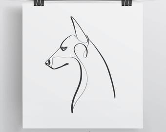 Doberman Art Print, Single Line Drawing, Black and White Dog Art, Pet Portrait, Minimal Art, Contour Line Art, One Line, Gift for Dog Lovers