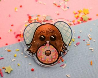Donut Wookie Me!- Laser Cut Illustrated Acrylic Brooch - tattoo flash design pin collar clip star wars