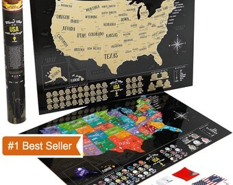 Amazing Scratch MAP of USA, Travel map, Large Premium gift, US map, United states scratch off map poster, Push pin, valentine's day gift