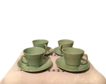 1940's Green Wartime Cup & Saucer Set of 4