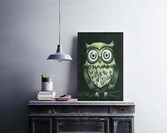 Original digital painting on canvas - emerald green OWL - Limited Edition