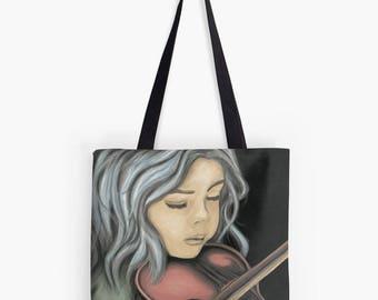 Reproduction art Tote - girl with violin - digital painting portrait kids - shoulder bag lightweight - unique original design - 3 sizes