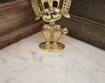 So Cool! Vintage 1980's Gold Tone Earring Poodle Dog Earring Holder