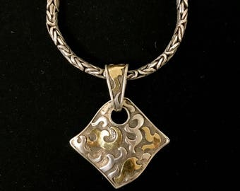 Sterling Silver Pendant w/22k Overlay on Chain