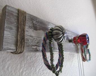 Glass & Metal Drawer Knob Jewelry/Coat Rack l Red Glass Knob Jewelry Rack l Rustic Drawer Knob Jewelry/Coat Rack