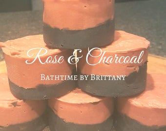 English Rose & Charcoal Hair Care--Cold Process Shampoo--Shampoo Bar--Solid Shampoo--Conditioner Bar-Solid Conditioner-Travel-READY TO SHIP!