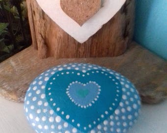 Blue Heart,  heart design, dot art, painted rock, hand painted,  beach pebble, gift for wedding , Valentine Gift, other colours available!