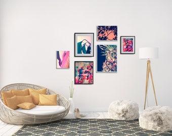 Set of 6 Wall Decor Printable, Gallery Wall Set, Printable Wall Art Bundle, Tropical Gallery Wall, Extra Large Living Room Wall Decor