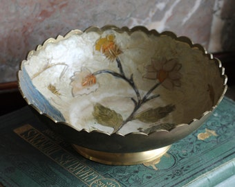 Simply Gorgeous Vintage Hand Painted Brass Bowl- Swan On Water And Wild Flower Motif/ Boho Chic