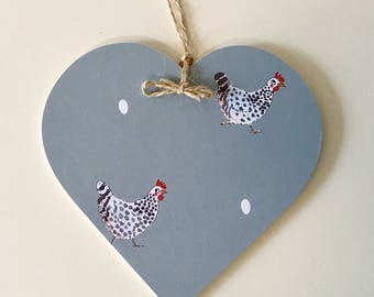 Chickens Print~ Decoupaged Hanging Heart / Gift Tag ~ Countryside Country Kitchen Decor Gift Rustic Farm 10cm/8cm/5cm sizes