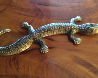 Brass Reptile / Lizard shelf piece