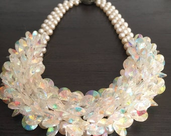 Vintage Faux Pearl and Rivoli Aurora Borealis Rhinestone Cluster choker/necklace