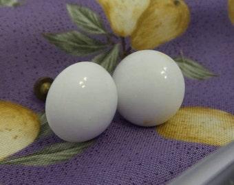 White Porcelain Screw Back Earrings