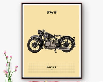Poster, poster moto BMW R-12 printable, downloadable. Art wall for House, office, space decoration. Retro poster. Christmas