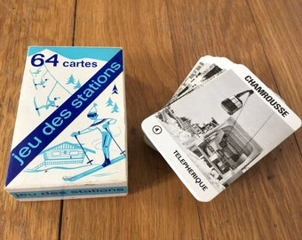 French playing cards, French card game, rare ski stations 64-card set, French stations card game, French Alps, ski game, playing cards