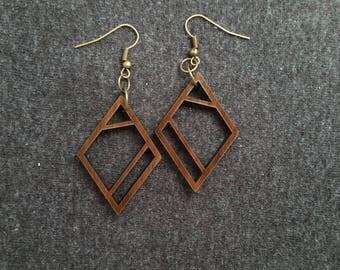 Geometric diamond wood earrings, walnut and brass 0087