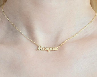 14K Gold Dainty Name Necklace - Personalized Necklace - Gold Name Necklace - Custom Name Necklace - Name Jewelry - Valentine's Days Gift