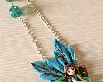 Fairy in the Morning,pendant in polymer clay,gift for girl,fairy tales.
