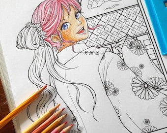 Printable Coloring Page - Digital Lineart - Instant Download [ Pretty Girl #3 ]
