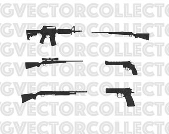 Gun Pack, Svg Dxf Eps Png, Clip Art, Instant Digital Download, Hunting Rifle, Scoped Rifle, Shotgun, AR-15, Magnum  Revolver, Pistol