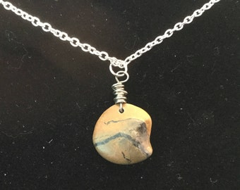 Brown Rock with Black Lines Necklace