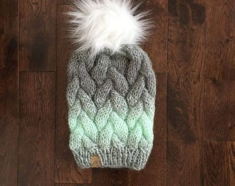 THE CAYLEY // Braided Cable Beanie // Grey and Mint // Hand Knit Chunky Hat // Faux Fur Pom Pom // Chunky Knit Hat // Cable Beanie