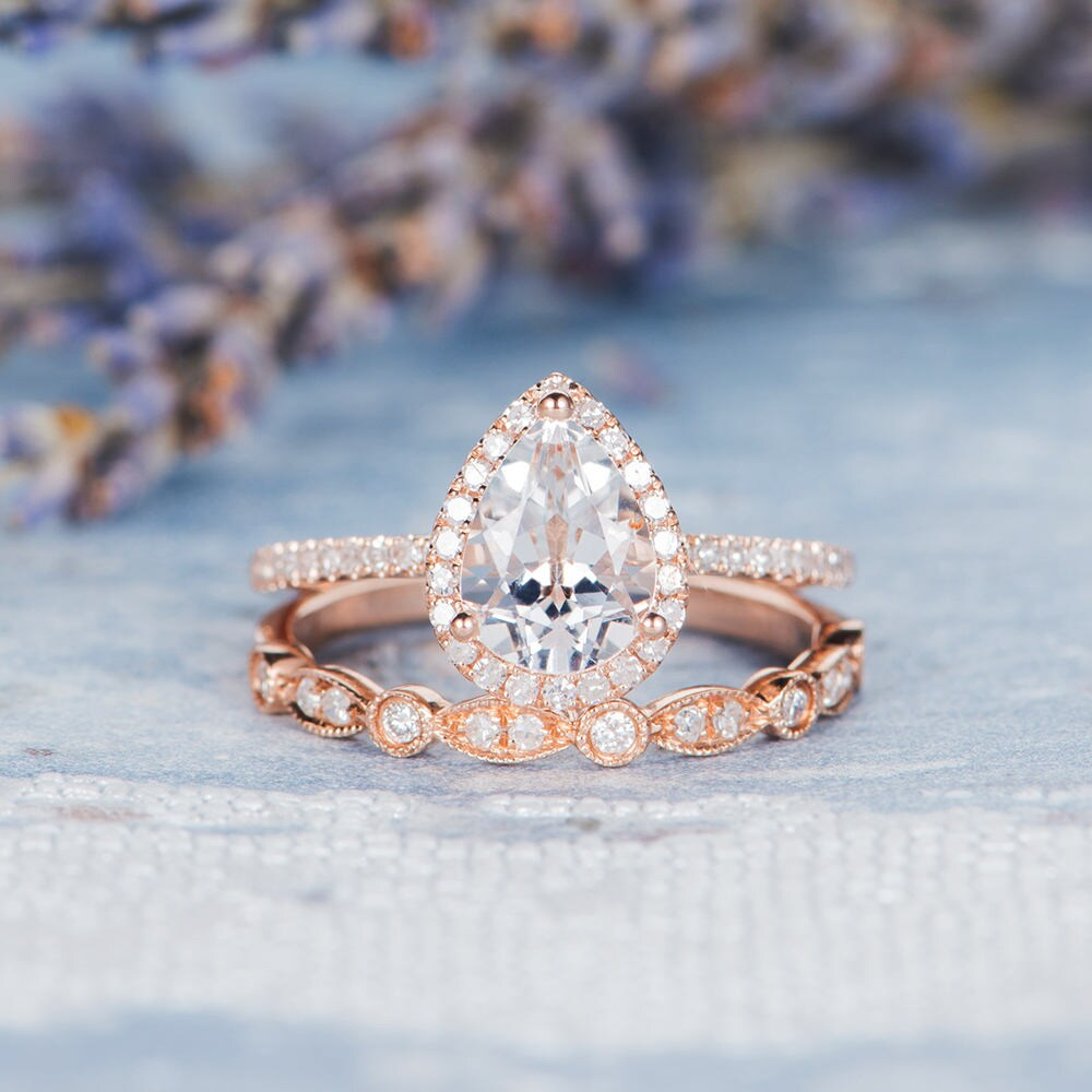 Pear Shaped Engagement Ring Set Rose Gold Wedding Ring Bridal