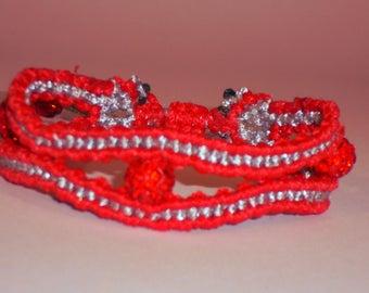 Macrame Bracelet in Red & Silver