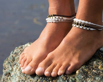 Handmade Beaded Macrame Anklets - Various Colours