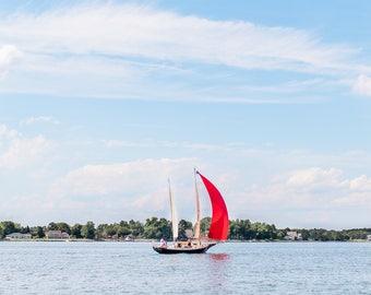 Red Sailboat Print