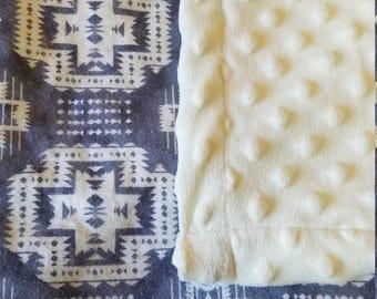 White (cream) and Gray Tribal Print Minky Baby Blanket