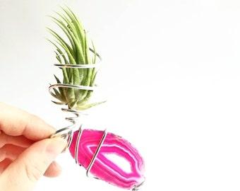 Crystal Suncatcher, Agate Suncatcher, Agate Magnet, Agate Air Plant, Pink Crystal Plant, Crystal Plant Decor, Cute Window Decor, Pink Agate
