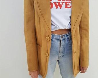 70's Caramel Coat // Vintage Boho Genuine Leather Jacket // Womens Size 10