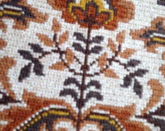 Floral Embroidered Tapestry from Sweden / Wall Hanging / Vintage