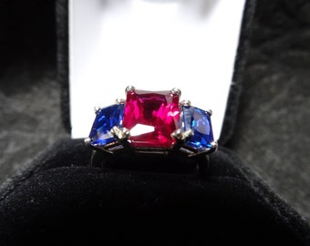 Ruby and Spinel Sterling Silver Ring